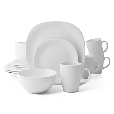 Thomson Pottery Quadro 16-Piece Dinnerware Set in White Service for 4 (1)