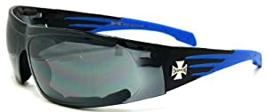 Choppers Padded Single Lens Sunglasses Black & Blue Biker Motorcycle Glasses 912C