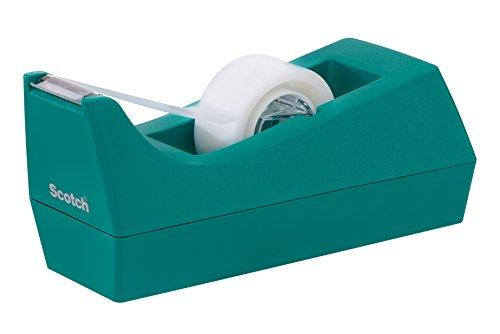 Scotch C38T810 Tischabroller für Klebefilm, inklusiv 1 Rolle, Klebeband, 19 mm x 8.89 m, türkis