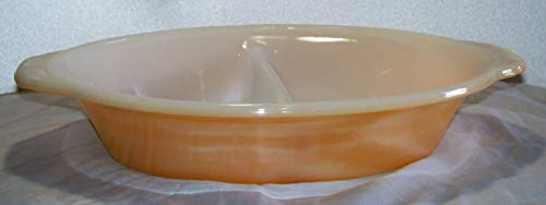 Vintage Anchor Hocking Fire-King Peach Luster Glass Divided Serving Baking Dish w/ -