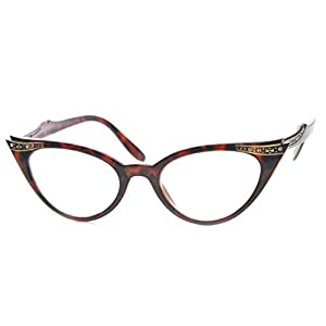 AStyles - Vintage Cateyes 80s Inspired Fashion Clear Lens Cat Eye Glasses with Rhinestones (Tortoise, Clear)