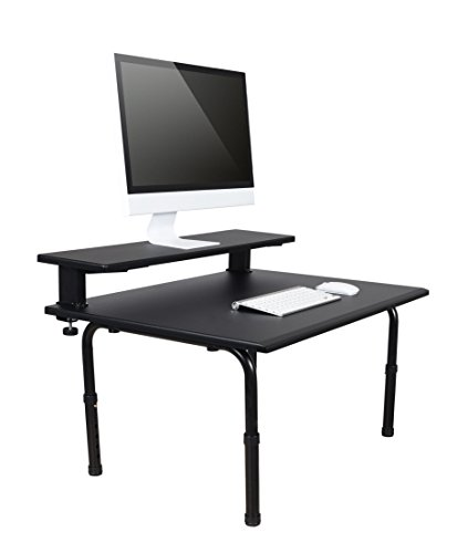 Standing Desktop Converter with Monitor Shelf - Convert Your Desk to a Standing Desk in Seconds! Sit to Stand Desk - Height Pedestal Desk 3/4