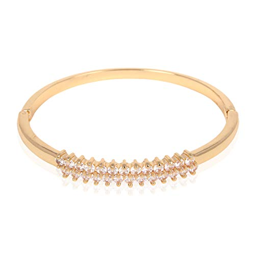 Sparkly Rhinestone Bridal Wedding Statement Bracelet - Cubic Zirconia Crystal Stretch Memory Wire/Adjustable Wrist Band Cuff/Hinge Bangle/Delicate Star Heart Flower (Round Cut Row - Gold) (Gold Round Cut Flower)