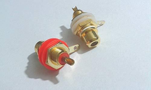 (FidgetKute 30 pcs Alloy Plated RCA Jack Panel Mount Chassis Socket Red&White)
