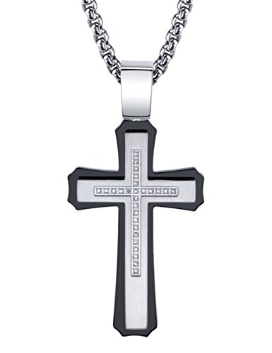 SPARTAN Men's Cross in Stainless Steel with Diamonds Pendant Necklace, Silver, One Size