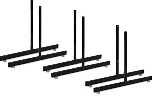 T-Shape Gridwall Panel Legs Display with Levelers - Box of 3 Pairs (6 Individual Legs) - Black - Work with All Standard Grid or Slatgrid Panels