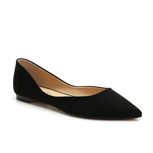 ComeShun Womens Shoes Black Buckle Adjustable Comfort Flat Sandals Suede Pumps Size 8