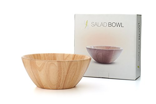 Caesar Salad Bowl (! Large 14 inch Wooden Salad Bowl by LightningStore - Premium Grade Wood With Special Box Packaging - Ideal Serving Bowl for Fruit and Salad - Excellent For Personal Use)