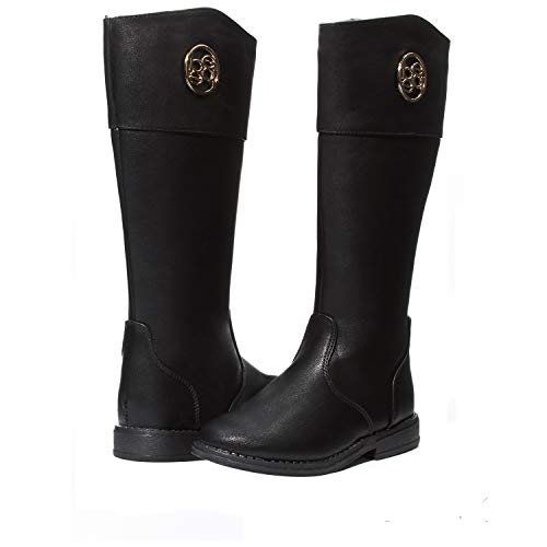 bebe Girls Riding Boots with Medallion Size 3 Black/Gold Casual Dress Shoes