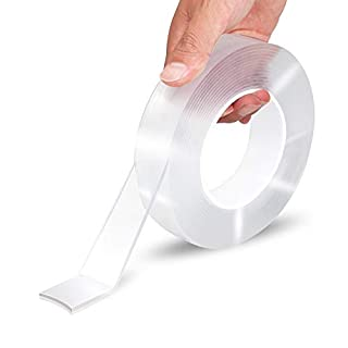 EZlifego Double Sided Tape Heavy Duty(16.5FT/5M),Multipurpose Wall Tape Adhesive Strips Removable Mounting Tape,Washable Strong Sticky Transparent Tape Gel Poster Carpet Tape for Paste Items,Household
