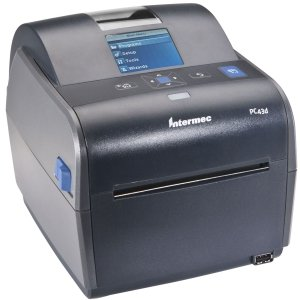 (Intermec PC43d Desktop Direct Thermal Label Printer with LCD Display and USB, Easy-to-Use Barcode Label Printer with 4 Rolls of 4