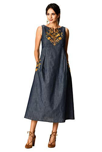 eShakti FX Floral Embellished Empire Cotton Chambray Dress 1X-16W Indigo Chambray/Multi
