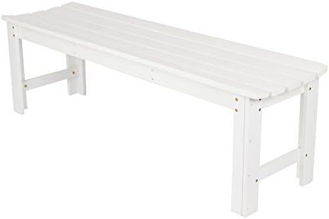 Shine Company Inc. 4205WT Backless Garden Bench, 5 Ft, White