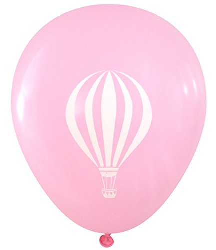 Nerdy Words Hot Air Balloon Design Latex Balloons, 16 pcs (Light Pink)]()