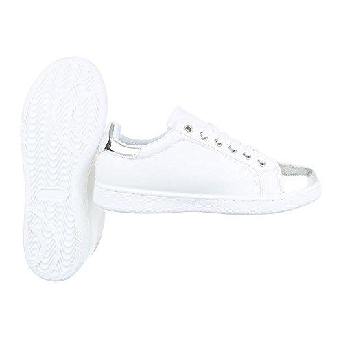 Ital-Design Sneakers Low Damenschuhe Schnürsenkel Freizeitschuhe Weiß 2018-23