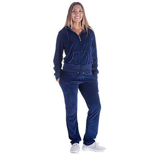 Women's Tracksuit Velour Sweatsuits Set Hoodie & Pants 2 Pieces Soft Outfits Casual Athletic Joggers Jog Set(3XL, Navy)