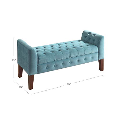 Superb Homepop Velvet Tufted Storage Bench Settee With Hinged Lid Theyellowbook Wood Chair Design Ideas Theyellowbookinfo
