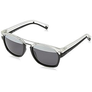 Police Men's S1948 52NVAH Square Sunglasses, Matte Black,Transparant,Smoke & Silver Mirror, 52 mm