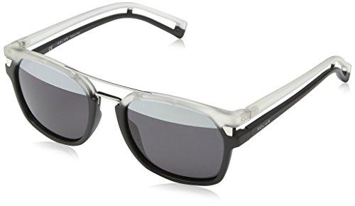 Police Men's S1948 52NVAH Square Sunglasses, Matte Black,Transparant,Smoke & Silver Mirror, 52 - Police Sunglasses Men
