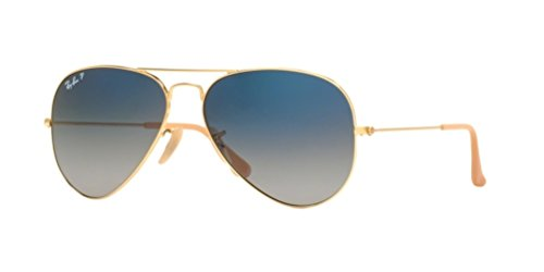 Ray-Ban RB3025 Aviator Large Metal Unisex Polarized Aviator Sunglasses (Gold Frame/Gradient Blue Polarized Lens 001/78, - Ray Gradient Gold Ban Blue