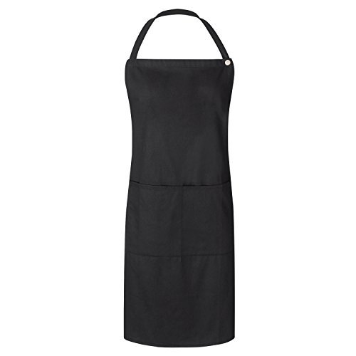 WorkDay Professional Bib Apron - 100% Cotton - Women & Men - Machine Washable Chef, Kitchen & Salon Apron with 2 Pockets, Adjustable Waist Tie & Snap Closure- 28 x 32, Universal Fit (Black)