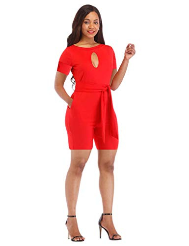 - Sexy Women Rompers and Jumpsuits Shorts Club Wear Elegant Wide Leg Pants Plus Size Short Sleeve Casual Summer Belt Pockets Red S