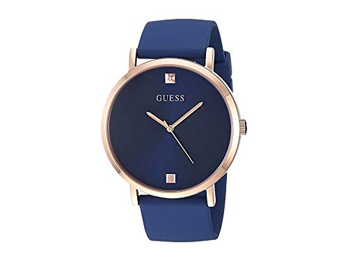 GUESS  Comfortable Iconic Blue + Rose Gold-Tone Stain Resistant Silicone Genuine Diamond Watch. Color: Black (Model: U1264G3) - Mens Rose Gold Tone Watch