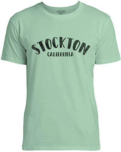 Austin Ink Apparel Womens City of Stockton California Unisex Cotton T-Shirt, Mint Green, XL