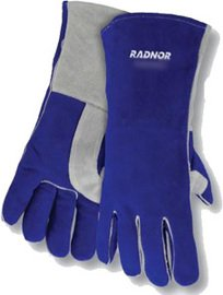 Radnor Glove Welders X-Large Blue 14'' Premium Side Split Cowhide Cotton/Foam Lined Insulated With Double Reinforced, Wing Thumb, Welted Fingers And Kevlar(R) Stitching (Carded) -1 Case of 48 Pair by Radnor (Image #1)