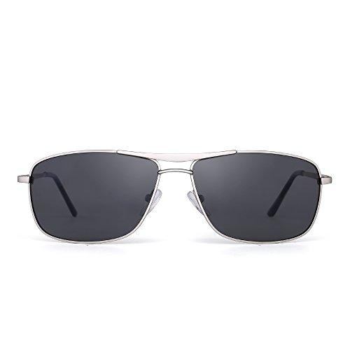 Polarized Rectangle Sunglasses Driving Lightweight Spring Hinge Frame Men Women (Silver / - Discount Sunglasses