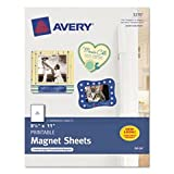Printable Inkjet Magnet Sheets, 8-1/2 x 11, White, 5/Pack, Total 12 PK