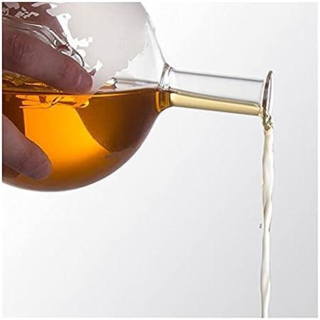 YANGYANG Allenzhang Botella de Cristal del Globo de 850 ml con la Base de Madera Decantador de Whisky de la Nave Antiguo Dispensador de Whisky Decoración de la Barra
