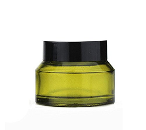 4Pcs 50ml/1.67oz Olive Green Refillable Glass Cosmetic Jars Pot Bottles Case Empty Makeup Face Cream Lip Balm Storage Container with Black Lid and Liners (Glass Jar Green)