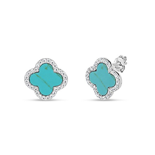 Sterling Silver Stabilized Turquoise With Cubic Zirconia Clover Stud Earrings