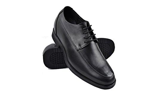 Zerimar Herren Schuhe mit Unsichtbarer Erhöhung 7 cm Schuh Aus Hochwertigem Leder Schwarz