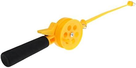 ポータブル 耐久性いい 釣り竿 氷釣りロッド ホイール付き プラスチック製 イエロー 軽量