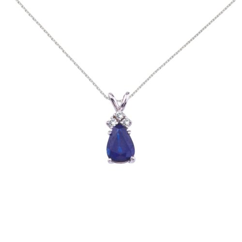 (Sonia Jewels 14K White Gold Genuine Birthstone Pear Shaped Sapphire and .05 ct Diamond Pendant (3/4 Cttw.) - Includes 14k Gold Cable Chain)
