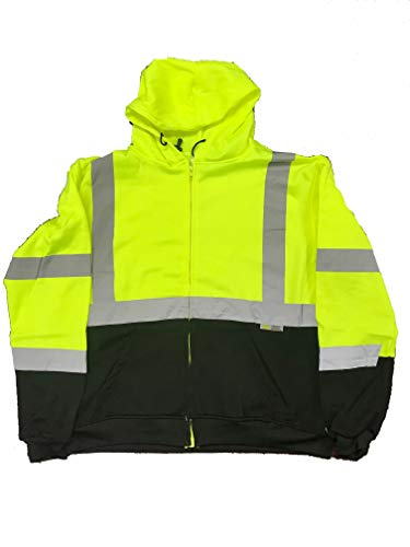 Ansi Class 3 Overalls - 3C Products SAJ6700, ANSI/ISEA Class 3, Men's Safety Fleece Hoodie Jacket, Reflective, Pockets, Neon Green w/Black Bottom,XL