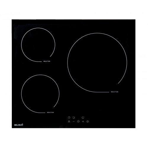Beldeko - Mesa de cocina de inducción con temporizador de cristal negro
