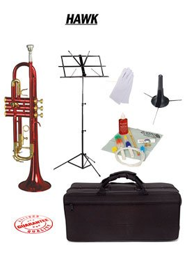 Hawk Red Bb Trumpet School Package with Case Music Stand Trumpet Stand and Cleaning Kit WD-T314-RD-PACK