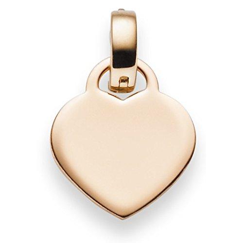 Pendentif cœur einhänger Gravure plaque 20x 13,3mm en or 585or rouge