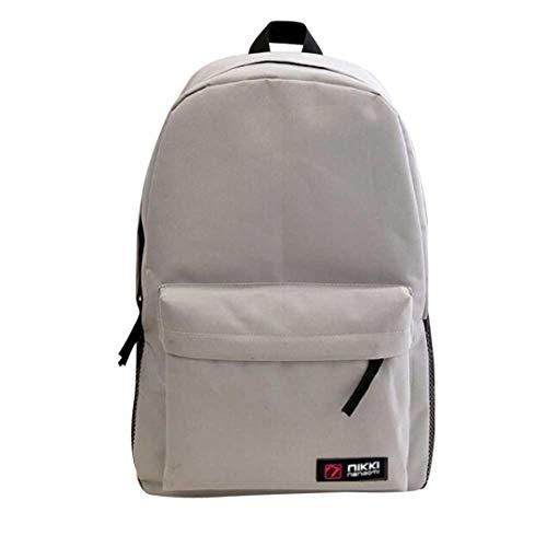 Outsta School Double Shoulder Backpack, Women Men Student Backpack Handle Bag Oxford Daypack Travel with Bottle Side Pockets Multicolor (Gray)
