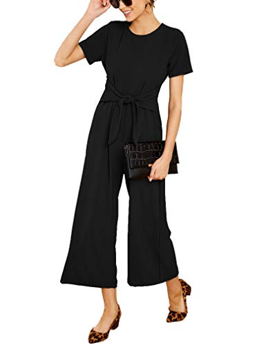 Qearal Women's Summer Jumpsuits Chiffon Tie Waist Short Sleeve Wide Leg Pants Rompers M Black