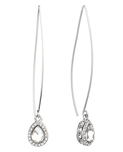 Women's Rhinestone Stud Teardrop Long Fish Hook Pierced Earrings, (Silver Tone Rhinestone Earrings)