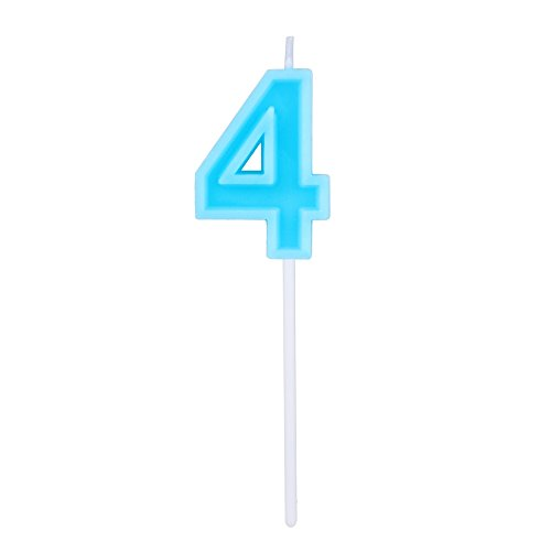 Willcan Extra Length Happy Birthday Colorful Numeral Candles, Classic Number 4 Blue Candles with Plastic stem for Party Celebration Decorating Cake Topper (Blue Number 4) -