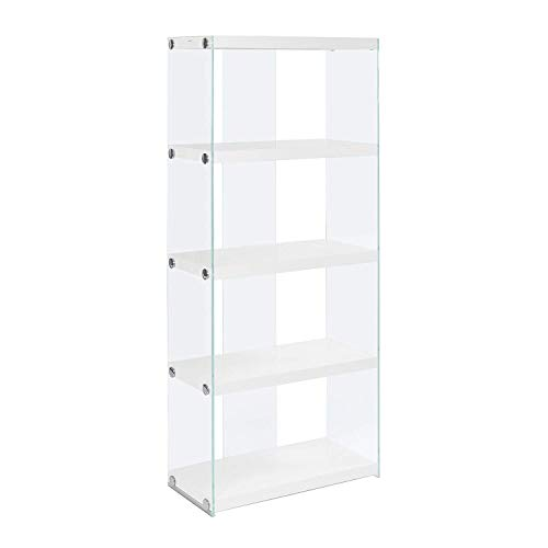 (Monarch specialties I 3289, Bookcase, Tempered Glass, Glossy White, 60