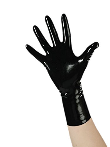 EXLATEX Rubber Secrets Short Latex Mixed Toes Wrist Gloves (Large,Black) (Black Womens Latex)