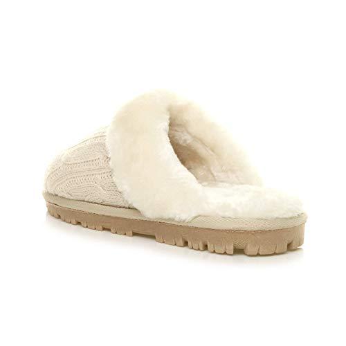 Tricot Fourrure Chaude Hiver Luxe Pointure Femmes Ajvani Chaussons Pantoufles Beige Plat En Doublée Confortable De qw6aganxI0