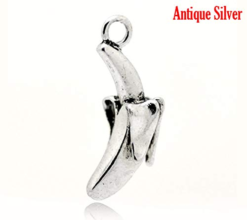 - PEPPERLONELY 10pc Antiqued Silver Alloy 3D Banana Fruit Charms Pendants 28x11mm (1-1/8