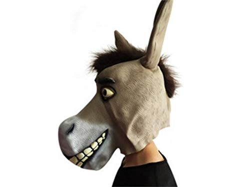 Hezon Happy Festival Funny Latex Donkey Mask Halloween Animal Mask Head Cover for Masquerade (Khaki)